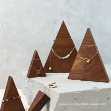 Pyramid triangle solid wood jewelry display stand