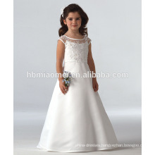 2016 hot sell white color long style baby girl wedding dress