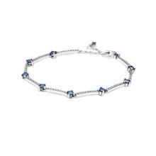 S925 sterling silver new sparkling pave chain bracelet