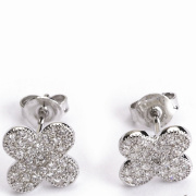 Fashion Jewelry CZ Earring, New Design Silver Micro Pave CZ Charm Earring, Fashion Stud Earring
