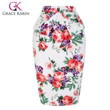 Grace Karin Occidente Mujeres Caderas Envuelto De Cortocircuito De Cortocircuito De Algodón Flor Impreso Lápiz Vintage Falda CL008928-8