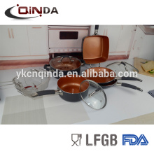 Último juego de utensilios de cocina recubiertos de cerámica Popular Copper Chef