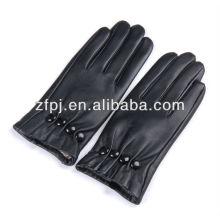 Recentemente quente botões estilo luvas couro preto otomano