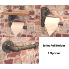 TOILET ROLL HOLDER Industrial Iron Water Pipe L Shape 'T' & Nut Vintage Washroom Bathroom Malleable Flange Fitting to Wall wc