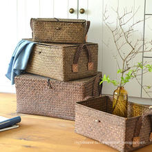 (BC-ST1083) High Quality Pure Manual Natural Straw Basket with Cover