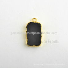 Handmade Black Onyx Quartz Slice Bezel Station Micron Gold Plated Sterling Silver Bezel Connector and Charm