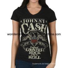 Damenmode Druck Custom Cotton Hot Großhandel Mädchen T-Shirt