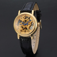 diamond setting mechanical watch with skeleton dial design