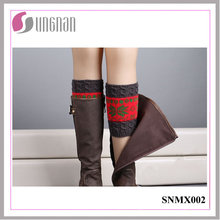 2015 Latest Winter Snowflake Contrast Color Leg Warmers Knitted Socks