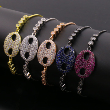 Good Quality for Women'S Cz Copper Bracelet Lovely Baby Face Multi Color Zirconia Charm Bracelets export to Italy Factories