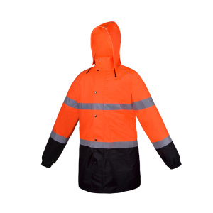 Fluorescent Red Classic Full Length Safety Raincoat