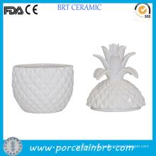 Weißes Keramik Einzigartiges geformtes Ananasglas für Kerze