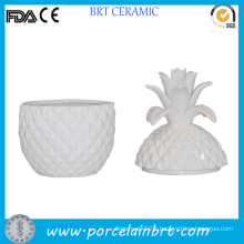 White Ceramic Unique Shaped Pineapple Jar for Candle