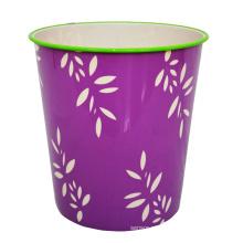 Leaf Pattern Printed Plastic Purple Open Top Waste Bin (B06-822)