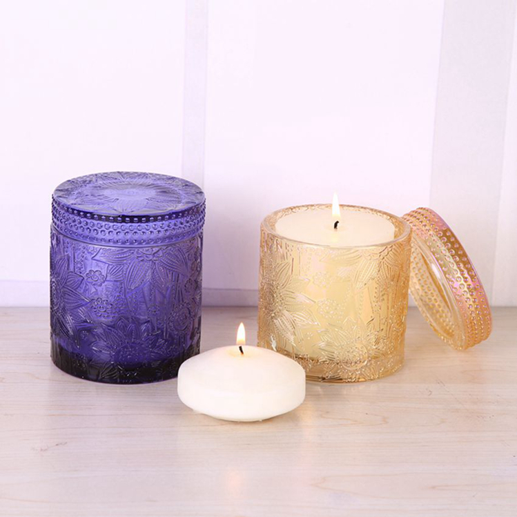Br 1712 Handmade Lotus Pattern Glass Candle Jar For
