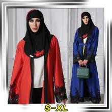 Vestido de lujo premium poliéster mujeres musulmán diseñador kimono frente encaje abaya