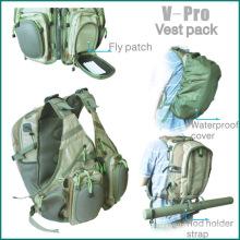 Pesca com mosca V-pro colete pacote traseiro