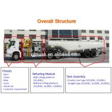 Capacidad del tanque 46000L del camión de reabastecimiento de aviones para el avión de aire del puerto de aire usado