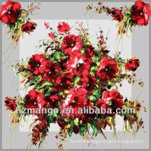 Digital Flower Printing Square Silk Scarf