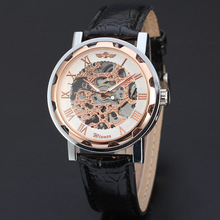 rose golden winner watch alloy case with high quality leather band