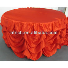 Wedding decoration table cloth with high quality, ruffled satin table cloth
