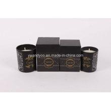 Vela de tarro de cristal negra de tamaño mini y regular