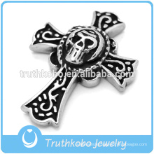 Punk Style Stainless Steel Death Jewelry Men's Skull Wholesale Religious Cross Necklace