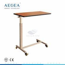AG-OBT007 wood dinning board adjustable hospital bedside table with wheels