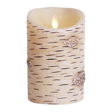 Set Of 2 Birch kulit Flameless lilin membawa lilin tunggak