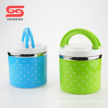 Customized portable durable single layer hot pot lunch box with handle