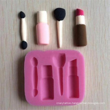 New Design 4 Cavity Makeup Tools Baking Silicone Molds, Lipstick Brush Moule Silicone Fondant BPA Free Silicone Molds for Baking