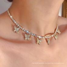 2020 Fashion Glitter Sexy Party Diamond AAA Zircon CZ Stone Tennis Girl Cross Pendant Necklace Chain for Women