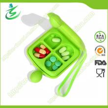 4-Fall doppelte mit Seiten versehene Pille-Kasten, Großhandels-tägliche Aquare Pille-Kasten