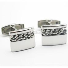 Rectangle em forma de prata em branco 316L Stainless Steel Chain Cufflinks