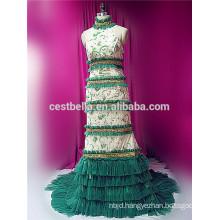 Fashion muslim lady night dress women arab green muslim wedding dress wedding gown