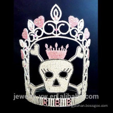 Full Crystal halloween skull crown, wholesale halloween crown