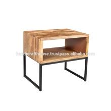 Industrial Simple Block Holz Regal mit Metall Beine Nachttisch