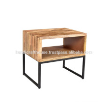Industrial Simple Block Wooden Shelf with Metal Legs Nightstand