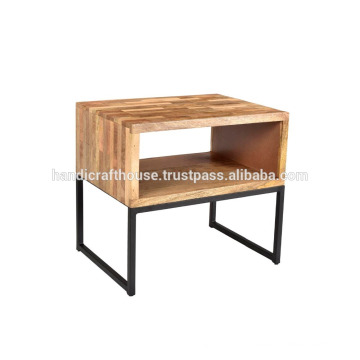 Industrial Simple Block Wooden Shelf with Metal Legs Nightstand