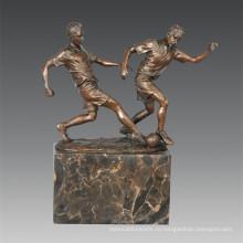 Спортивная статуя футбола 2 игрока Бронзовая скульптура, Milo TPE-768