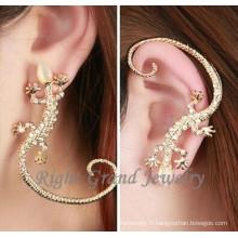 Nouveau Design Gecko en forme de bijoux Boucles d'oreilles cristal Multi oreille brassard