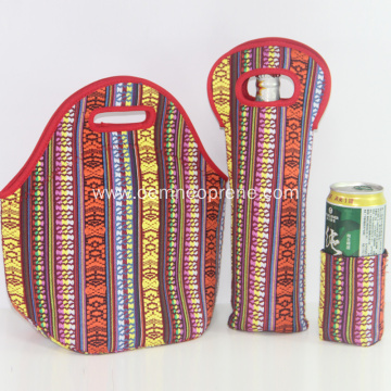 Insulated neoprene lunch box tote