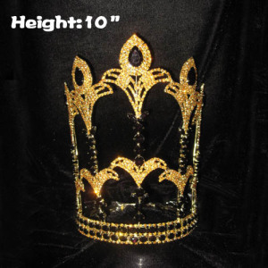 10in Height Crystal Fleur De Lis Pageant Crowns With Gold Plated