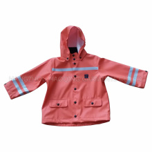 PU Hooded Winter Reflective Raincoat for Baby/Child