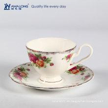 Forma redonda de calidad europea moderna de hueso fino China taza de café y platillo