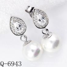 Neueste Styles Perlen Ohrringe 925 Silber (Q-6943)