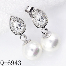 Latest Styles Pearl Earrings 925 Silver (Q-6943)