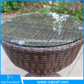 Moderna mesa de café ao ar livre rattan conjunto com almofada para 2