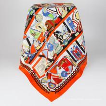 Трафаретная печать 90x90см 100% шелковый шарф оптом Китай