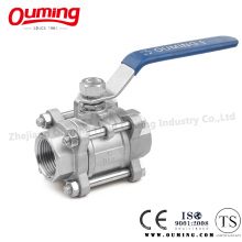 3PC Stainless Steel Threaded Ball Valve with Handle (OEM)